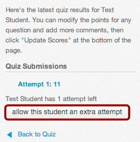 Add Extra Attempt through Student Quiz Results
