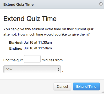 Extend Quiz Time