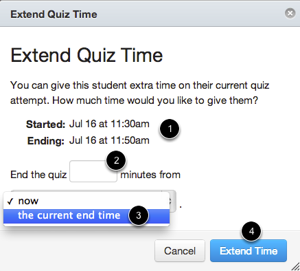 2 - Extend Quiz from Current End Time