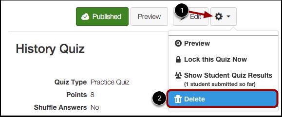 Delete Quiz