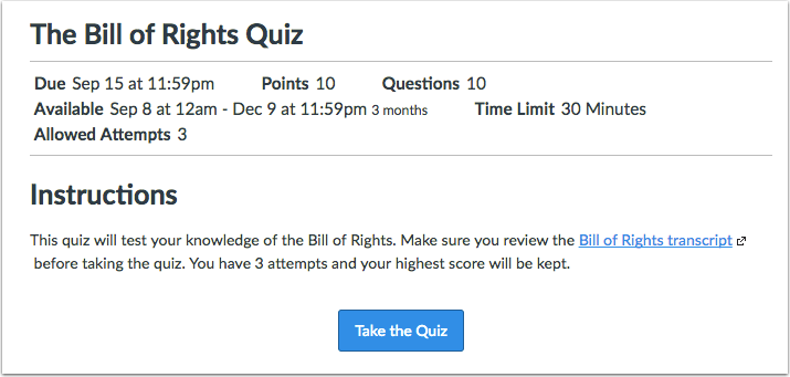 View Quiz with Availability Dates
