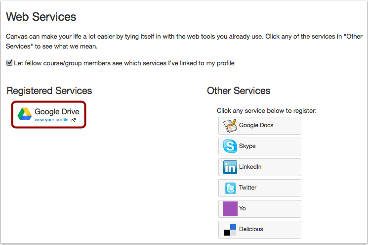 Afficher les services enregistrés