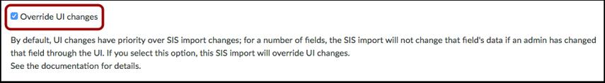 Override UI Changes