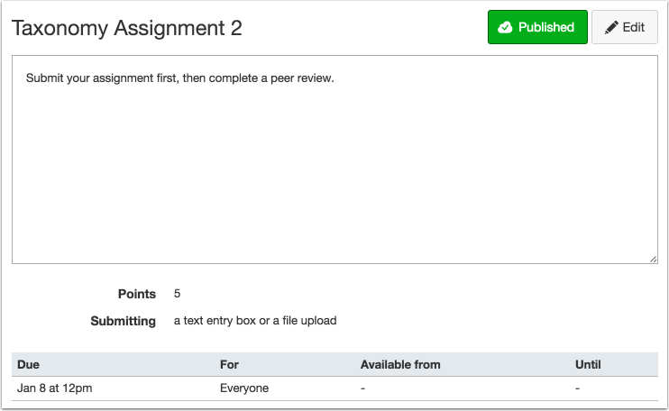 View Published Assignment