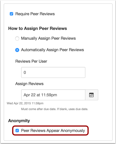 Assign Anonymous Peer Reviews