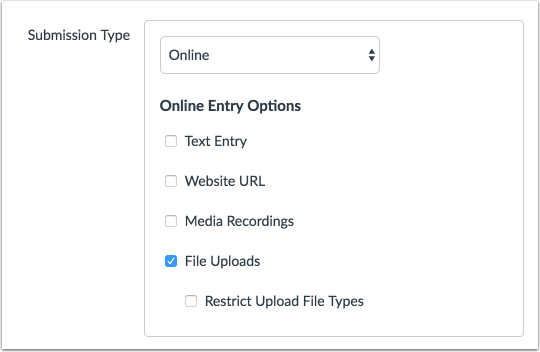 Select Online Entry Options
