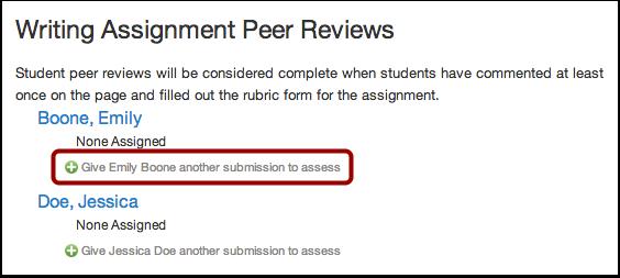 Manually Assign Peer Reviews