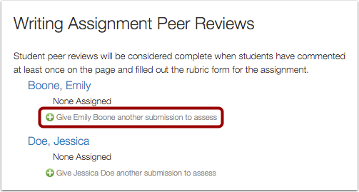 Manually Assign Peer Reviews