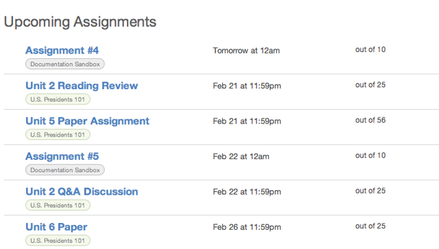 View Upcoming Assignments