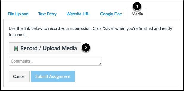 Record/Upload Media via Media Tab