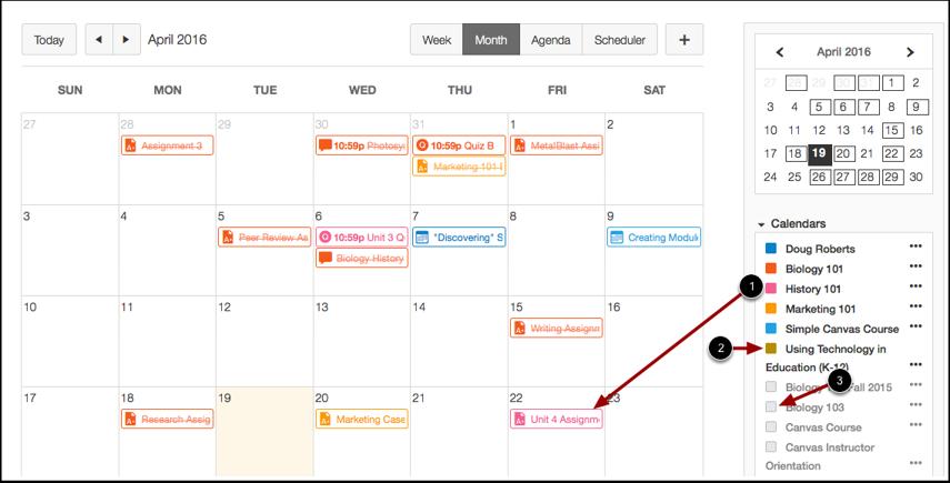 View Calendar List