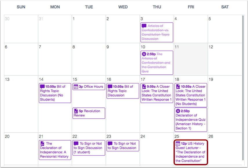 View Wrapped Assignments and Events