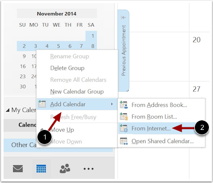 Add Calendar from Internet
