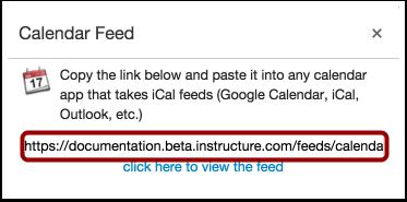 Copy Calendar Feed Link