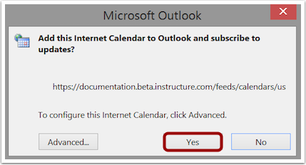 Confirm Calendar Subscription