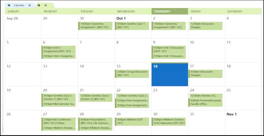 View Canvas Calendar in Outlook