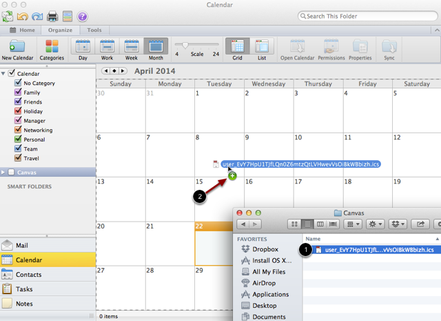 Drag and Drop .ics File to the Outlook Calendar