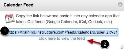 View Calendar Feed Link