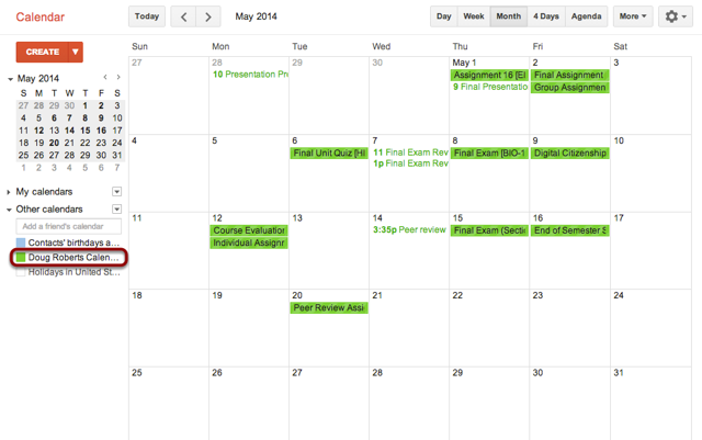 View Subscribed Calendar Feed