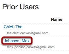 Open Prior User Account Details