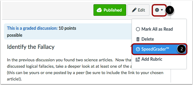 Open SpeedGrader from a Graded Discussion