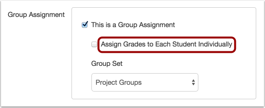 Assign Grades Individually Checkbox in Group Assignments