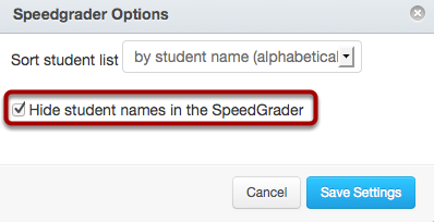 Hide Student Names in the SpeedGrader™