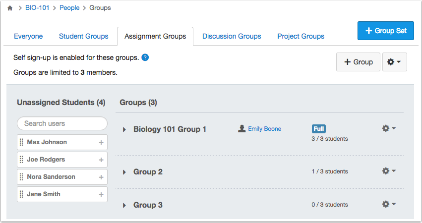 Instructor Groups Management View