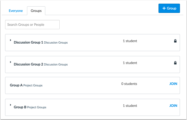 Student Groups Management View