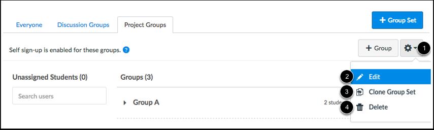 Manage Group Sets
