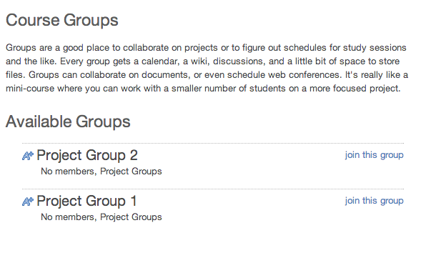 Student View: Self Sign-up Groups