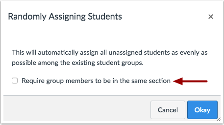Require Same Section for Groups