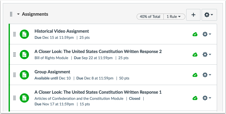 Where do Assignments appear in Canvas?