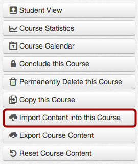 Import Content into this Course button