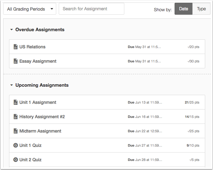 View Assignment List