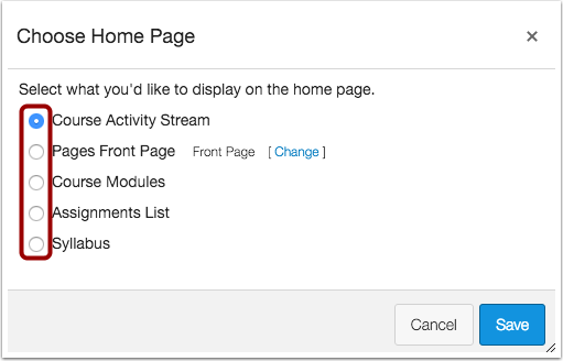 Select Home Page Layout