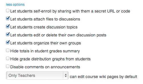 Set Student Options