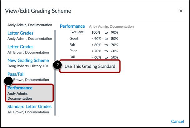 View Grading Schemes