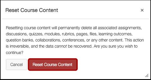 Confirm Course Reset
