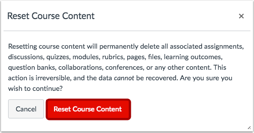 Confirm Course Reset