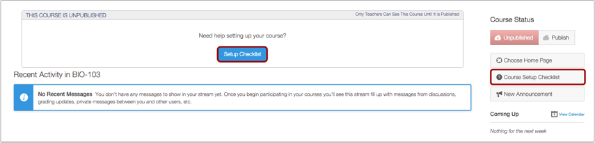 Open Course Setup Checklist