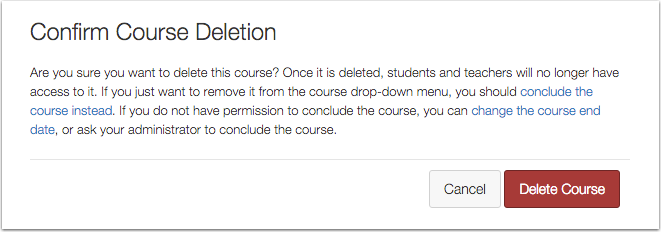 Deleting a Course