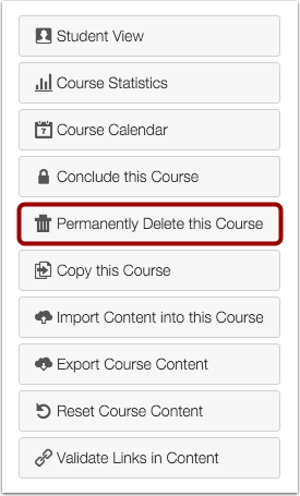 Permanently Delete Course