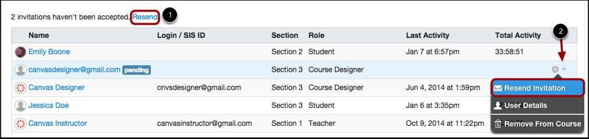 Resend Course Invitation