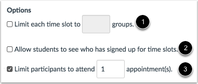 Set Appointment Options