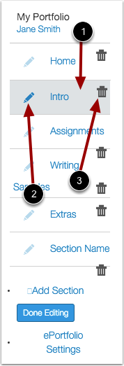 Manage Sections