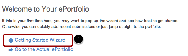 Open the Getting Started Wizard