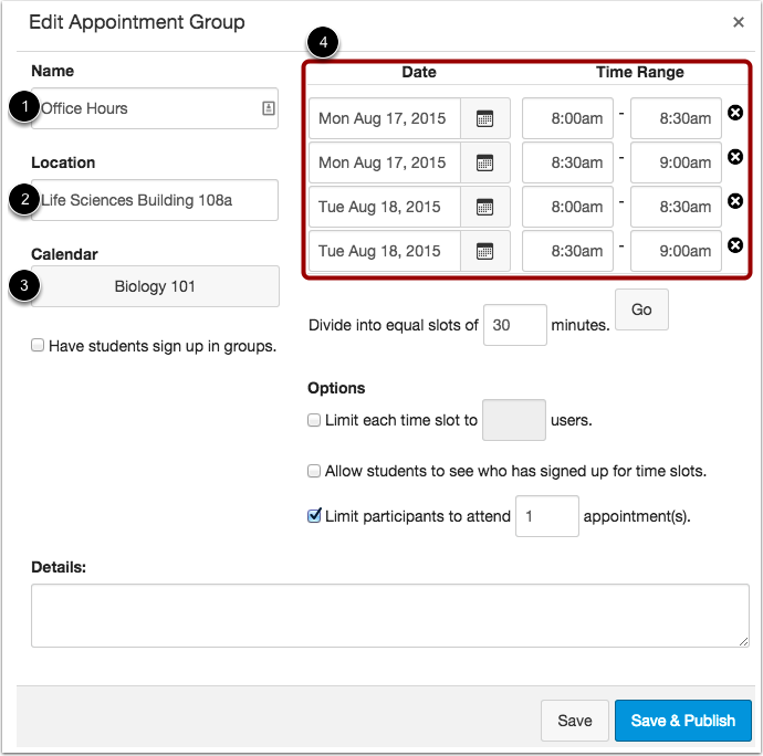 Edit Appointment Group Details