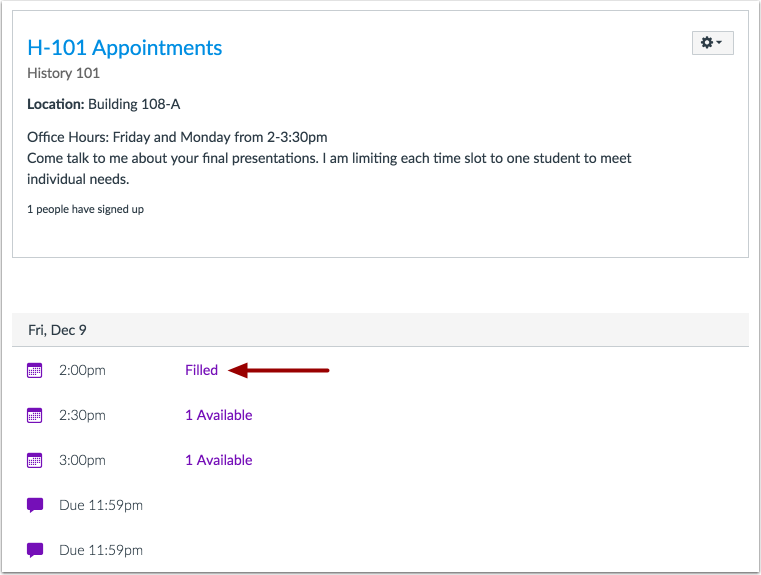 Locate Appointment Slot