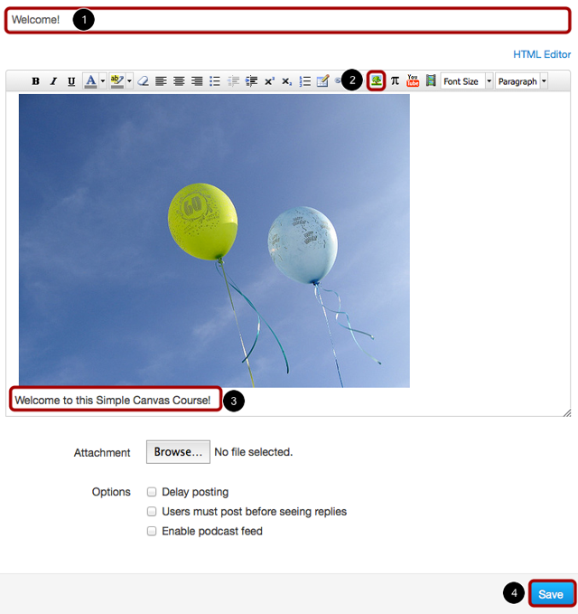 Create New Announcement with Flickr Image